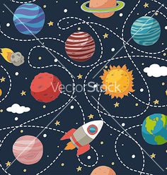 Seamless pattern with planets and the sun vector  by Julia_Henze on VectorStock®