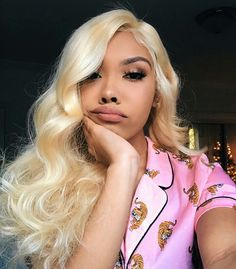 Black Girls Hairstyles : Mink Lace Front Wig Brazilian Hair Body Wave Blonde Sharing is caring, don't forget to share ! Blonde Lace Front Wigs, Blonde Wig, Blonde Weave, Blonde Hair Black Girls, Blonde Color, Gray Hair, 100 Human Hair, Human Hair Wigs, Inspo Cheveux