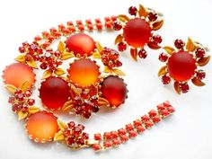 WEISS Harvest Orange Parure Bracelet Brooch Earrings Set High Fashion Elite Designer Vintage Jewelry Glass Rhinestone Enamel Weiss Autumn by JewelryQuestDesign, $249.99