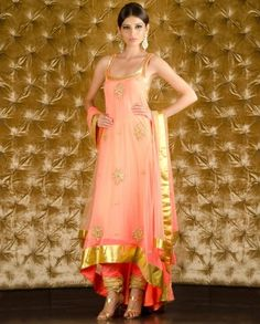 Peach Net Sleeveless Suit with matching crepe lining. Spandex churidar with elasticated waistband and peach net dupatta by Kisneel by Pam Mehta Churidar, Anarkali, Salwar Kameez, Indian Attire, Indian Ethnic Wear, Indian Style, Indian Girls, Indian Dresses, Indian Outfits