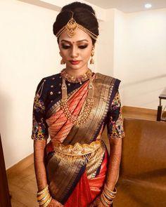 15 Irresistible Designer Silk Saree Blouse Ideas For The Brides Indian Bridal Sarees, Bridal Silk Saree, Indian Bridal Outfits, Saree Wedding, Bridal Lehenga, Bridal Dresses, Silk Saree Blouse Designs, Bridal Blouse Designs, Designer Silk Sarees