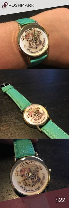 """""""The Harry"""" Hogwarts Watch Mint vegan leather band. Hogwarts crest face with gold hands. brandys closet Accessories Watches"""
