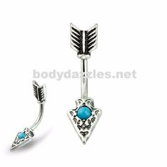 Antique Silver Feather Turquoise Centered Arrowhead Belly Ring 316L Surgical Steel Navel Ring
