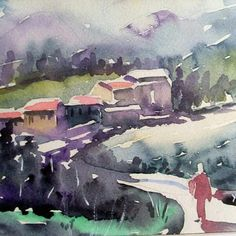 Watercolor by Aynur Akalin Village..