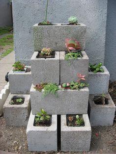 Creative concrete block flower bed