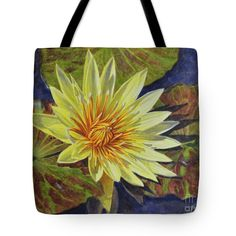 """Water Lilies 2 Tote Bag 18"""" x 18"""" from a watercolour by Fiona Craig www.fionacraig.com . Wall prints, duvets and throw pillows also available (the FAA watermark is NOT on the actual products)."""