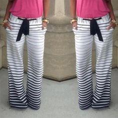 Vessos Women Casual Loose Harem Strip Full Long Pants Trousers Soft Leg Pull Fashion 2017