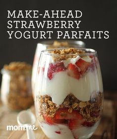 Healthy Make Ahead Strawberry Yogurt Parfaits with Honey Granola and Berries!
