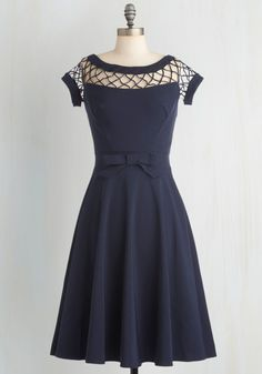 With Only a Wink Dress in Navy - Long, Party, Pinup, Vintage Inspired, 50s, 60s, Blue, Solid, Bows, Woven, Wedding, Fit & Flare, Bridesmaid, Cutout, Cocktail, Prom, Cap Sleeves, Best Seller, Full-Size Run, Nautical, As You Wish Sale, Top Rated