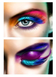 Love both of these eyes everything about them. The lashes changing colour the electric purple eyelid & the orange tear-duct just beautiful & bold!!!!