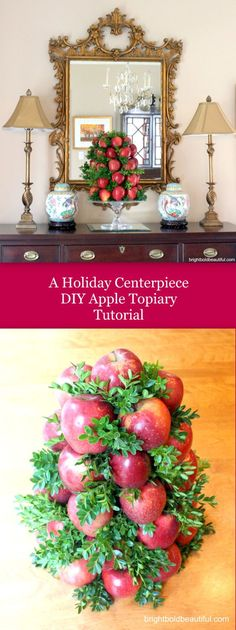 Get directions on how to make an apple boxwood topiary for the holidays! #holidayarrangement