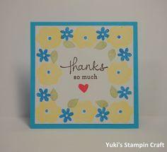 スタンピンアップ エンドレス・サンクス・スタンプセットで北欧チックなみにThank Youカード! 3x3 Thank You card using Endless Thanks stamp set, Stampin' Up!
