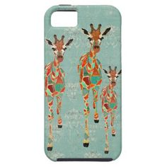 Azure & Amber Giraffes iPhone Case iPhone 5 Case
