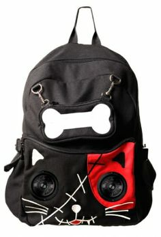 Banned - Cat Backpack with Speakers - Black/Red