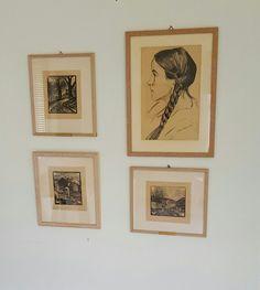 En serie Tresnitt og ett Portrett (Kullstift Tegning) av Elliot Kvalstad