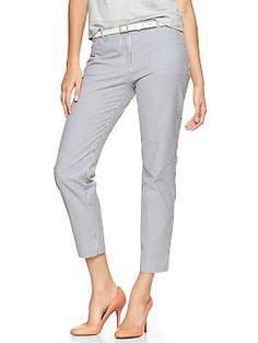 Slim cropped mini-stripe seersucker pants | Gap