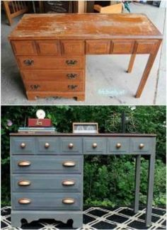 Gray and Copper Desk Makeover. This gray and copper desk is a perfect DIY projec… Gray and Copper Desk Makeover. This gray and copper desk is a perfect DIY project for your industrial style room! It is not so hard to make! Cheap Furniture Makeover, Diy Furniture Renovation, Diy Furniture Easy, Desk Makeover, Recycled Decor, Repurposed Furniture, Furniture Projects, Rustic Furniture, Antique Furniture