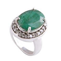 EMERALD & C.Z. 925 STERLING SILVER DESIGNER RING JEWELRY 6.61g R01532 #Handmade #Ring