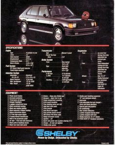 original specs brochure for Omni GLHS (Goes Like Hell, Some-more) #shelby #turbo #dodge