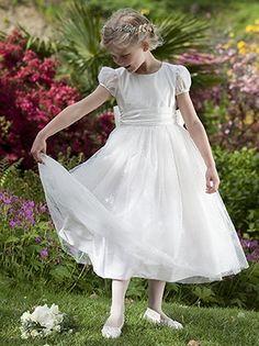 Titania - Nicki Macfarlane Communion Dress - Pretty Ballerina Length Shimmer and Sparkle Communion Dress - Made to Order First Communion Dresses for