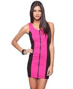 Forever 21, Zipper Front Colorblock Dress