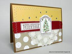 """Genähte #Weihnachtskarte mit """"Nostalgische Weihnachten""""   http://eris-kreativwerkstatt.blogspot.de/2015/11/genahte-weihnachtskarte-mit.html  #stampinup #karte #christmas #xmas #weihnachten #teamstampingart"""