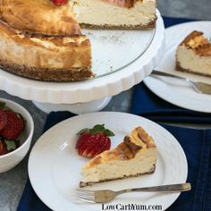 A simple New York style low carb keto cheesecake that doesn't require any special ingredients. Eat it plain or dress it up with fresh berries.