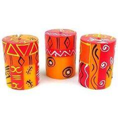 Set of Three Boxed Hand-Painted Candles - Zahabu Design - Nobunto