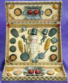 French Presentation Box -Little Chef with Kitchen Pots and Foods. Toy Kitchen, Old Dolls, Tin Toys, Retro Toys, Antique Toys, Miniature Dolls, Doll Accessories, Vintage Dolls, Vintage Children