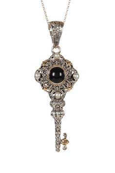 Two-Tone 18K Yellow Gold & Sterling Silver Filigree Onyx & Pearl Key Pendant Necklace by Phillip Gavriel on @HauteLook