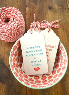 Printable gift tags w/ heartfelt messages. Cute red and white string (blue, red, white color scheme)
