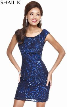 Sequined Boat Neckline Dress by Shail K 3704
