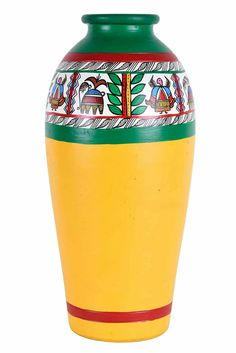 A beautiful handcrafted terracotta vase in unique urn shape hand painted with honey yellow in a red and green with a strip of floral leaves art in contrasting colors of red blue and green. Pottery Painting Designs, Pottery Designs, Paint Designs, Pottery Art, Bottle Painting, Bottle Art, Bottle Crafts, Painted Plant Pots, Painted Flower Pots