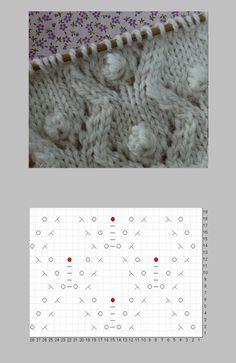 玉編み(ボッブル)の花模様の編み図と編み上がり作品