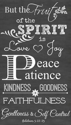Fruit Of The Spirit is love, joy, peace, patience chalkboard scriptures printable art