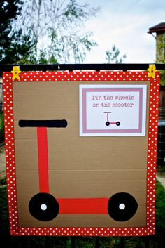 When I think of Jake, I think of him zooming around on his little red scooter. So when it came time to plan his Birthday Party last mon. Kids Party Themes, Party Activities, Party Ideas, Educational Activities, Baby Girl 1st Birthday, 4th Birthday, Birthday Ideas, Skateboard Party, Bike Birthday Parties