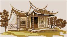Cross-stitch pattern Oriental house