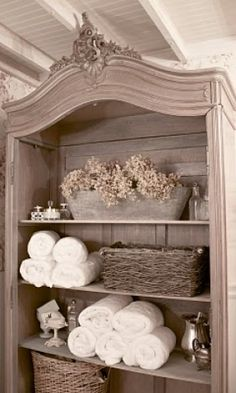 I want to try for this look with an old tall tv entertainment/armoire. It seems you could gut it out and remove drawers and tv shelf…