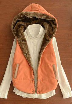 Leisure Simple Contrast Color Hood Warm Vest