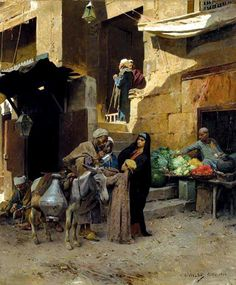 Egypt , Old Cairo Paintings: Charles Wilda (Austrian, Inside the… Art Marocain, Jean Leon, Empire Ottoman, Moroccan Art, Old Egypt, Academic Art, Pics Art, Historical Art, Arabian Nights
