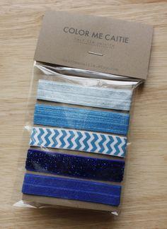 elastic hair ties -- blue party palette / easy Encontrado en etsy.com