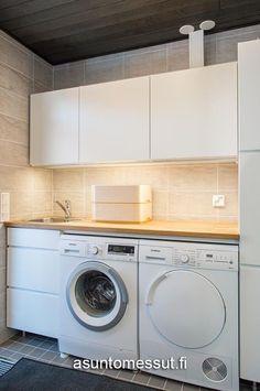 4번째 이미지 Laundry Nook, Garage Laundry, Laundry Room Sink, Laundry Room Storage, Small Laundry, Interior Design Living Room, Living Room Designs, Living Room Decor, Timber Benchtop