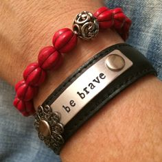 Be Brave leather cuff Gift Set Metal stamped  by LoveSquaredDesigns