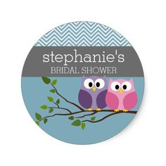 Bridal Shower with Owl Couple on Branch Round Stickers