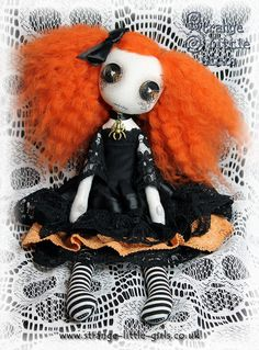 OOAK button-eyed Gothic cloth art doll  by StrangeLittleGirlsUK