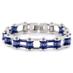 """1/2"""" Wide Two Tone Silver & Candy Blue Bike Chain Bracelet with blue crystal. Buy Silver & Candy Blue Bike Chain Bracelet with Blue Crystals online for the best price of $29.95."""