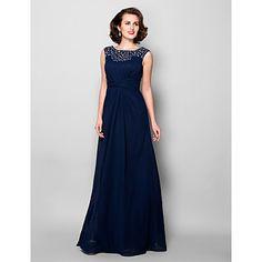 A-line Plus Sizes / Petite Mother of the Bride Dress - Dark Navy Floor-length Sleeveless Chiffon – USD $ 129.99