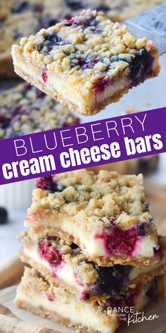 Blueberry Cream Cheese Bars have a creamy filling, tart berries & a buttery oat crumble on the bottom and top! Blueberry Bars, Blueberry Desserts, Just Desserts, Delicious Desserts, Yummy Food, Desserts With Blueberries, Blueberry Cheesecake Bars, Keto Cheesecake, Deserts With Cream Cheese