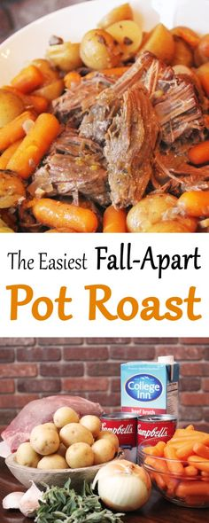 This pot roast is one of those dishes that I make over and over for my family. First of all, it's a slow cooker meal so it's super easy. Second of all, it has AMAZING amounts of flavor! The meat falls apart so easily and the potatoes and carrots are so tender they basically melt in your mouth. And the gravy that it makes…I could drink it with a straw!