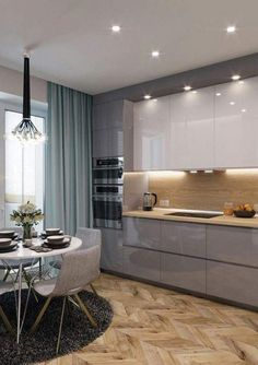Modern Kitchen Cabinets Ideas to Get More Inspiration Dish – Kitchen Paint – Kitchen Furniture Kitchen Room Design, Luxury Kitchen Design, Kitchen Cabinet Design, Luxury Kitchens, Home Decor Kitchen, Interior Design Kitchen, Small Modern Kitchens, Kitchen Small, Kitchen Furniture